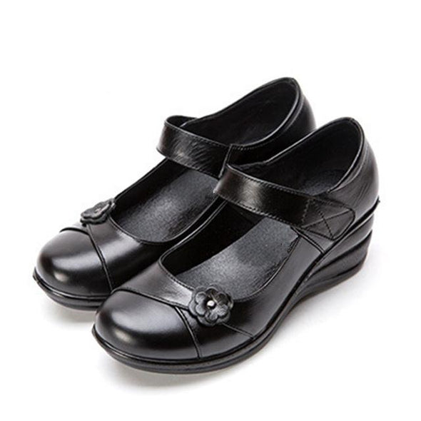 Black Autumn Handmade Leather Casual Flats Shoes For Women | TeresaClare