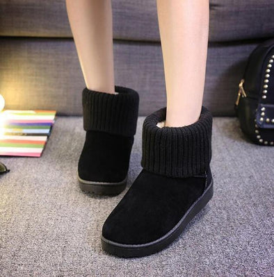 Black Autumn Winter Women Suede Ankle Fashion Snow Boots | TeresaClare