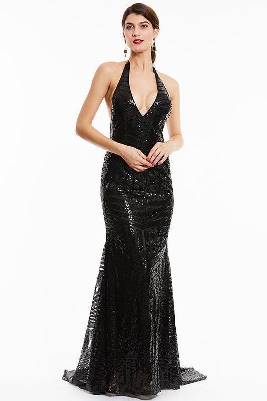 Black Backlesses Black Halter Sleeveless Sweep Train Evening Dress | TeresaClare
