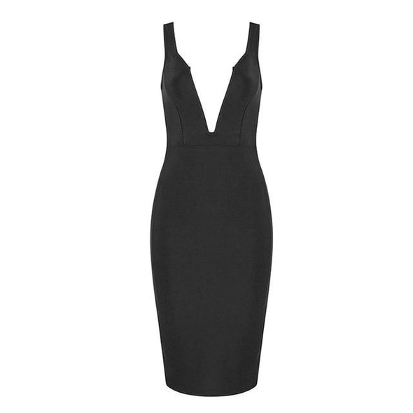 Black Bandage Tank Sexy Deep V-Neck Sleeveless Bodycon Party Dress | TeresaClare