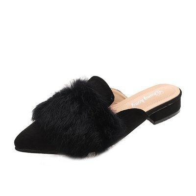 Black Baotou Semi Trailer Female Cool Slippers | TeresaClare