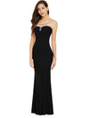 Black Beaded Elegant Cap Sleeves Straight Floor Length Evening Dress | TeresaClare