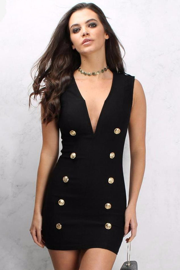 Black Black Button Studded Celebrity Runway Bodycon Dress | TeresaClare