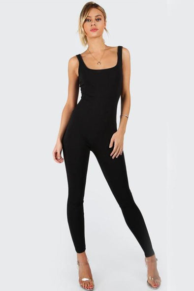 Black Bodycon Sleeveless Brief Slim Basic Tank Jumpsuit | TeresaClare