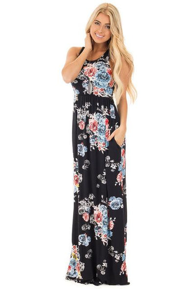 Black Bohemian Sleeveless Maxi Fashion Dress With Floral Print | TeresaClare