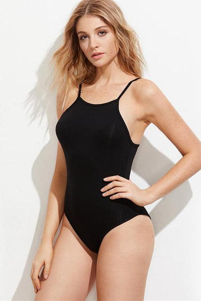 Black Casual Sleeveless Caged Back Sexy Cami Bodysuit | TeresaClare