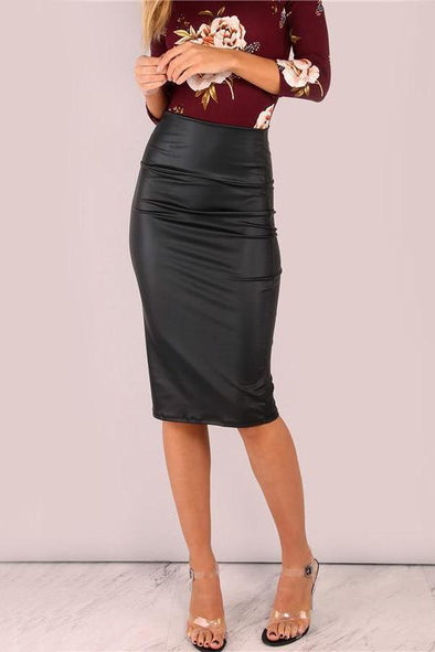Black Coated Midi Pencil Waistband High Waist Skirt | TeresaClare