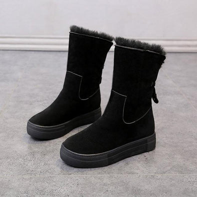 Black Cotton Faux Fur Platform Warm Snow Boots | TeresaClare