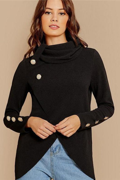 Black Cowl Neck Gold Button Detail Asymmetrical Sweater | TeresaClare
