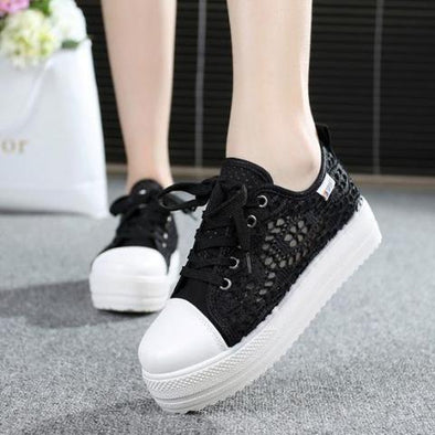 Black Cutouts Lace Canvas Hollow Floral Print Breathable Platform | TeresaClare