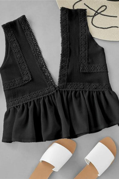 Black Deep V Neck Plunging Lace Trim Tank Top | TeresaClare