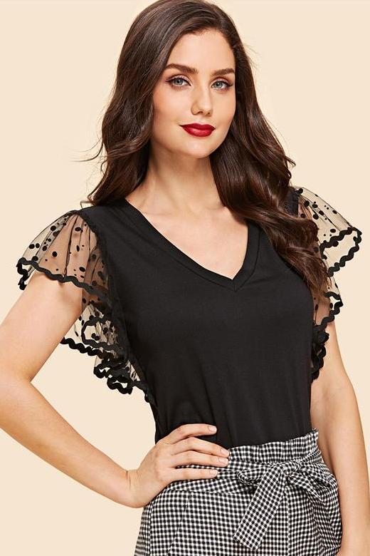 Black Dot Mesh Sleeve V Neck T-Shirt With Flounce Sleeve | TeresaClare