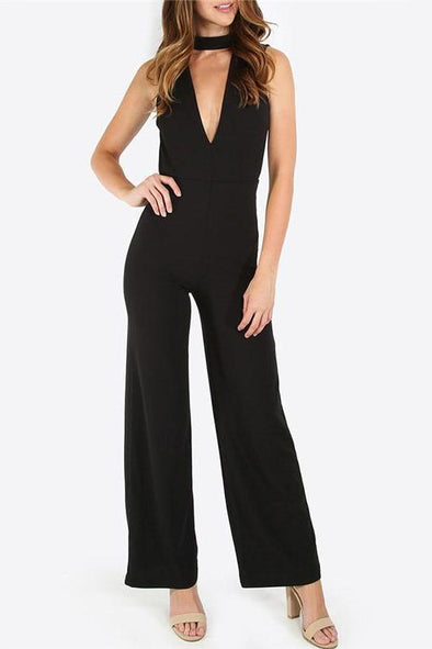 Black Double V Sleeveless Sexy Slim Work Jumpsuit | TeresaClare