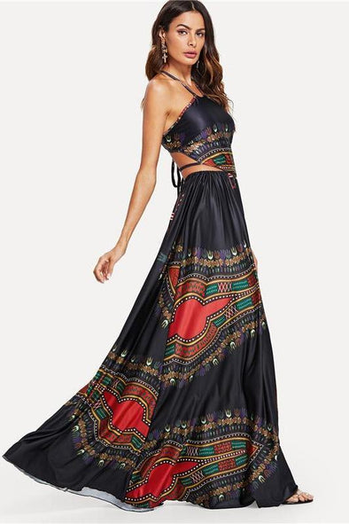 Black Elegant Backless Geometric Print Fashion Dress | TeresaClare