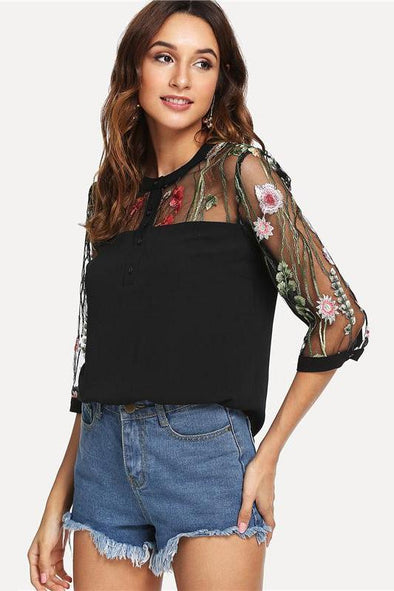 Black Elegant Highstreet Workwear Embroidered Blouse | TeresaClare