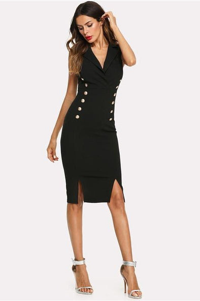 Black Elegant Notched V Neck Double Button Sleeveless Fashion Dress | TeresaClare