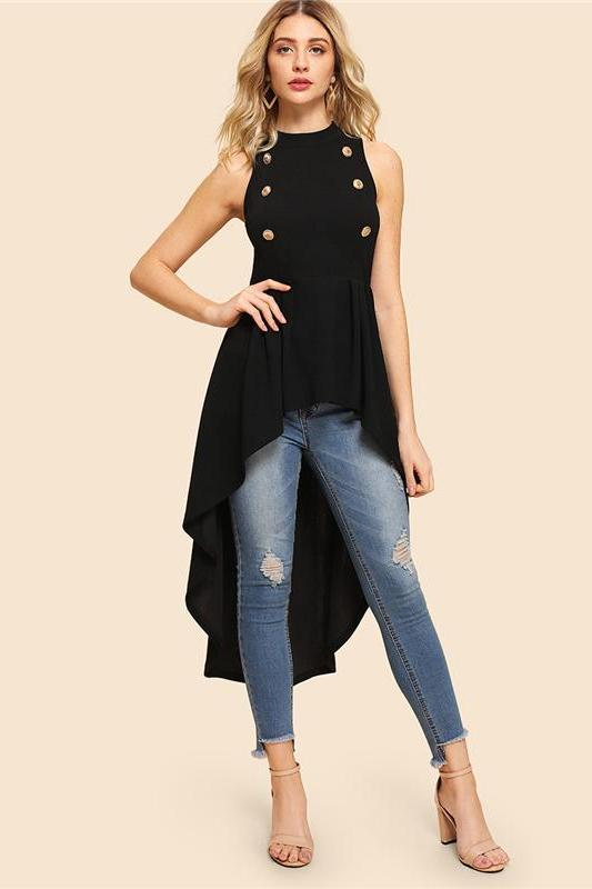 Black Elegant Party Double Button Asymmetrical Blouse | TeresaClare