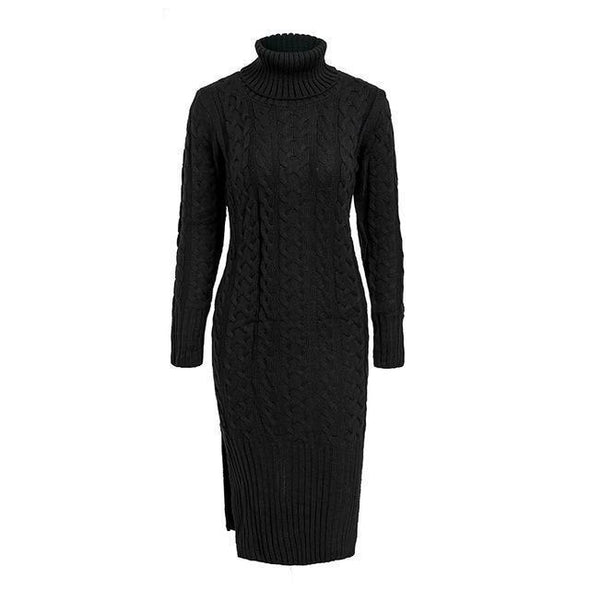 Black Elegant Side Split Warm Long Sleeve Women Dress | TeresaClare