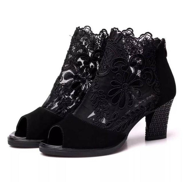 Black Embroidered Lace Flower Peep Toe Thick High Heel Boots | TeresaClare