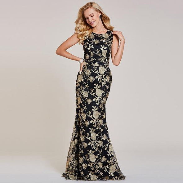 Black Embroidery Black Lace Sleeveless Mermaid Evening Dress | TeresaClare