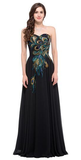 Black Embroidery Floor-Length Peacock Pattern Evening Dress | TeresaClare