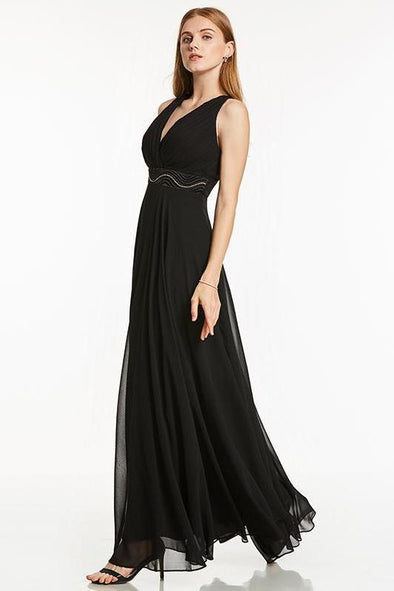 Black Empire Waist Cheap Black Sleeveless A-Line Evening Dress | TeresaClare