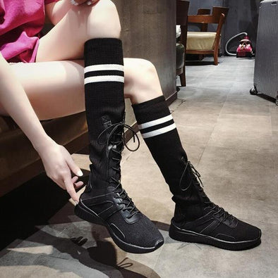 Black Fashion High Female Knee Leisure Stretch Flat Boots | TeresaClare