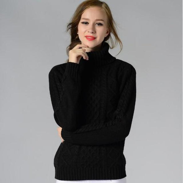 Black Fashion Solid Knitted Turtleneck Pullovers Slim Sweater | TeresaClare
