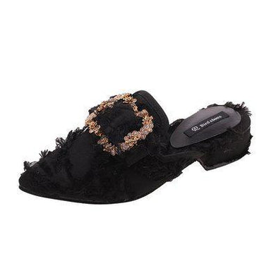 Black Fashionable Fringes Sharp Pointed Hammer Low Slippers | TeresaClare