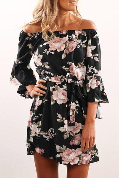 Black Flare Sleeve Off Shoulder Floral Print Slash Neck Fashion Dress | TeresaClare