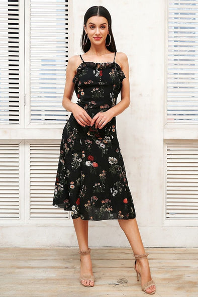 Black Floral Print Boho Backless Ruffle Sexy Midi Dress | TeresaClare
