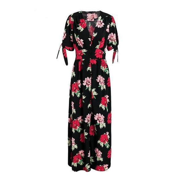 Black Floral Print Knotted Short Sleeve Maxi Dress | TeresaClare