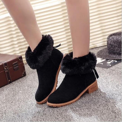 Black High-Quality Low Heel Wool Ankle Boots | TeresaClare
