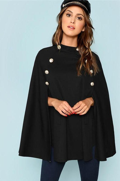 Black Highstreet Double Button Mock Poncho Coat | TeresaClare