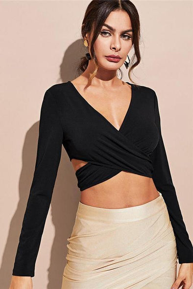 Black Highstreet Sexy Criss Cross Wrap Crop V Neck Blouse | TeresaClare