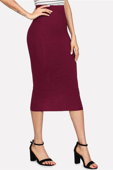 Black Jersey Navy Sexy Office Pencil Midi Skirt | TeresaClare