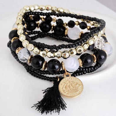 Black Jewelry Fashion Bohemia Style Multilayer Metal Bracelet | TeresaClare