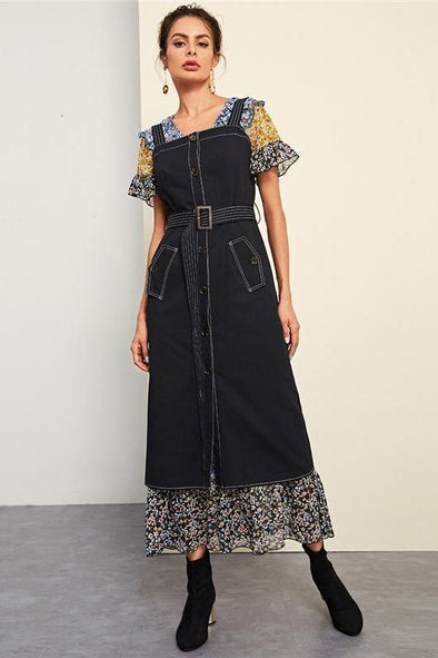 Black Knot Belted Stitch Button Up Long Fashion Dress | TeresaClare