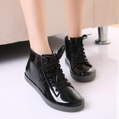 Black Lace-Up Rain Boots Fashion Solid Ladies Flats Ankle Boots | TeresaClare