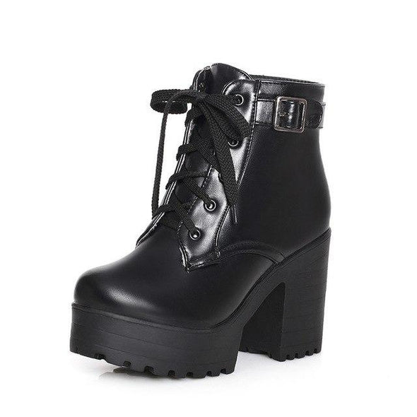 Black Lace-Up Sexy Women Fashion Platform Buckle Ankle | TeresaClare