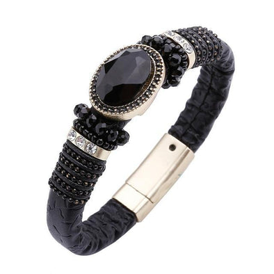 Black Leather Cuff Bangles Crystal High Bracelet | TeresaClare