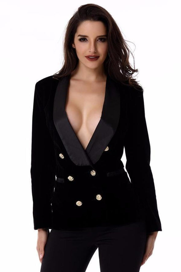 Black Long Sleeve Bodycon Gold Button Celebrity Lady Faux Fur Coat | TeresaClare
