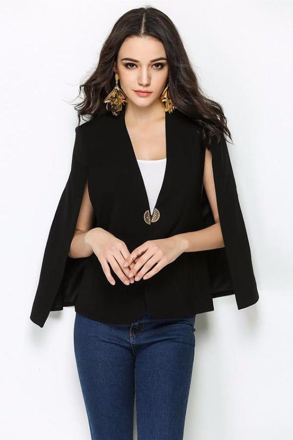 Black Long Sleeve V Neck Night Out Celebrity Evening Jacket | TeresaClare