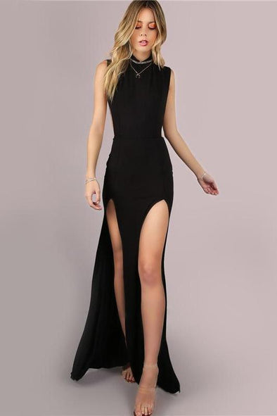 Black Mesh Back Maxi Party Double Slit Fashion Dress | TeresaClare