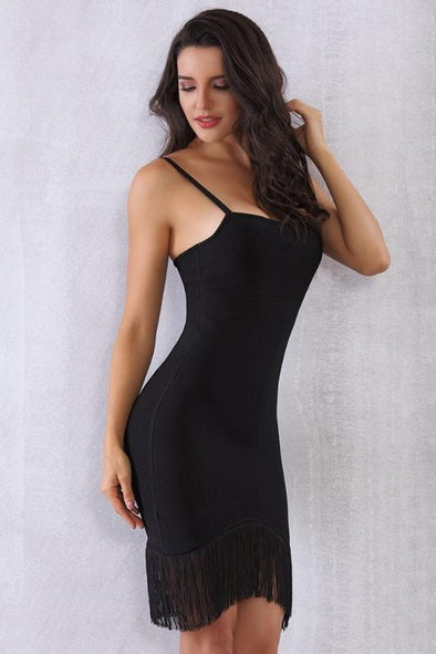 Black Mini Spaghetti Strap Tassel Bodycon Bandage Dress | TeresaClare