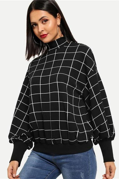 Black Minimalist Mock-Neck Grid Plaid Stand Collar Sweater | TeresaClare