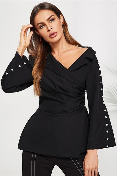 Black Notch Collar Solid Wrap Elegant Plain Asymmetrical Blazer | TeresaClare
