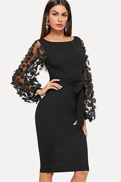 Black Party Elegant Flower Applique Contrast Mesh Fashion Dress | TeresaClare