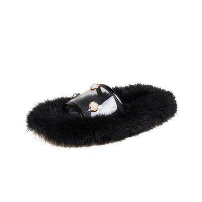 Black Pearls Comfortable Flat Bottomed Fairy Slippers | TeresaClare