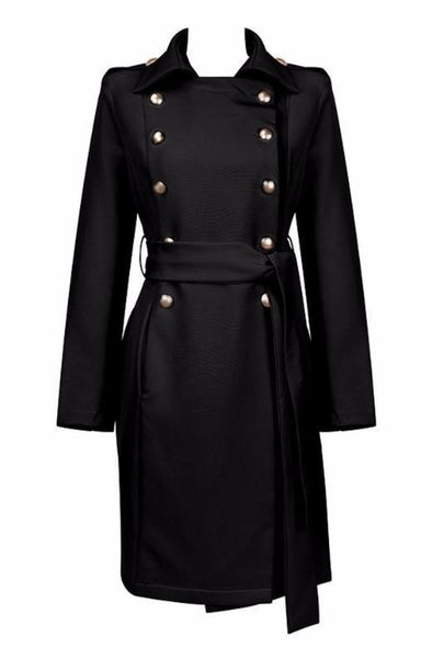 Black Pink Long Sleeve Button Long Style Coat | TeresaClare